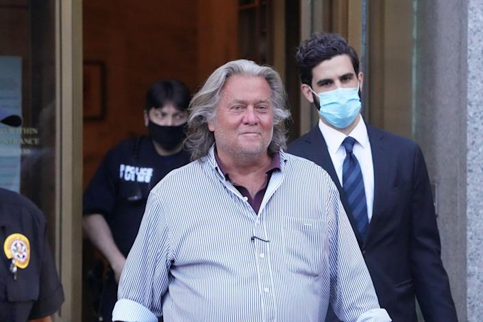 Steve Bannon exits Manhattan Federal Court following his arraignment on fraud charges on Aug. 20, 2020.