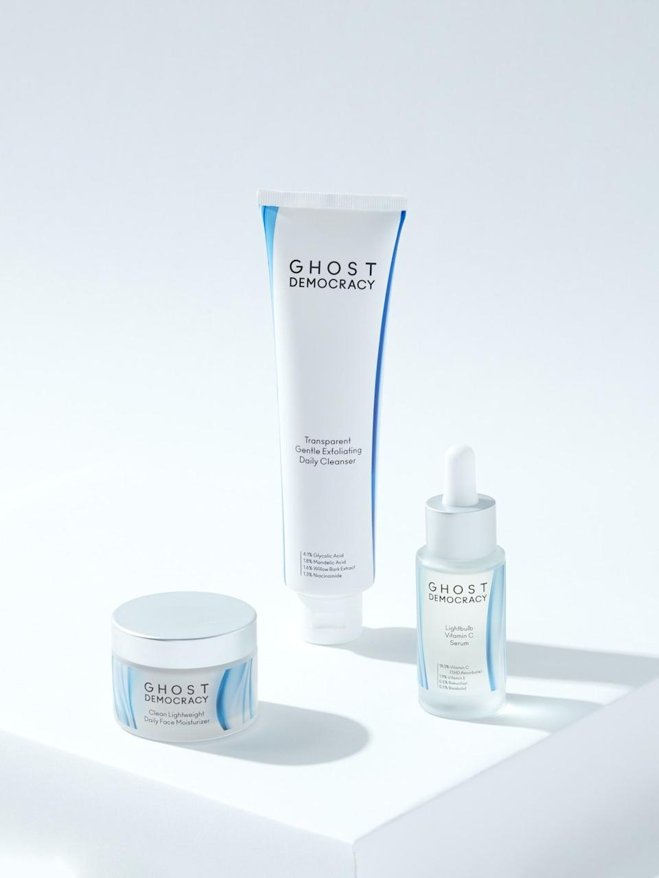 "<h3>Ghost Democracy The Starter Kit: Vitamin C Serum<br></h3><br>Jumpstart your skin-care routine with this all-in-one kit of full-size products designed to deliver major brightening and hydrating benefits.<br><br><strong>Ghost Democracy</strong> The Starter Kit: Vitamin C Serum, $, available at <a href=""https://go.skimresources.com/?id=30283X879131&url=https%3A%2F%2Fwww.verishop.com%2Fghost-democracy%2Fvendor-bundles%2Fthe-starter-kit-vitamin-c-serum%2Fp4339787235351"" rel=""nofollow noopener"" target=""_blank"" data-ylk=""slk:Verishop"" class=""link rapid-noclick-resp"">Verishop</a>"