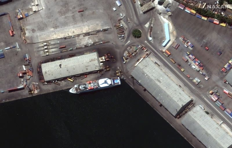 A satellite image shows the Orient Queen ship in Beirut