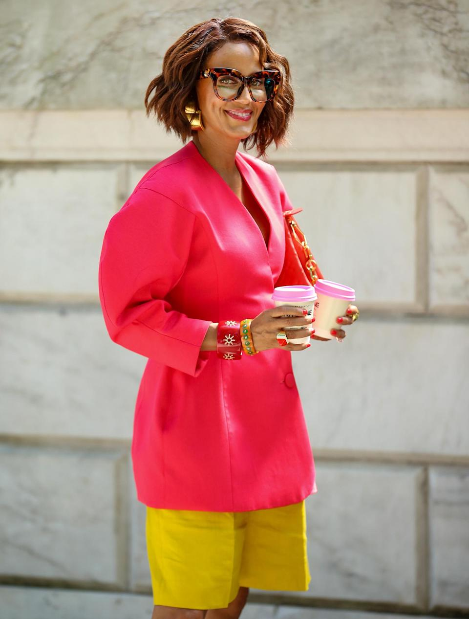 <p>Nicole Ari Parker looks stunning in pink while filming <em>And Just Like That</em> on Aug. 31 in N.Y.C.</p>