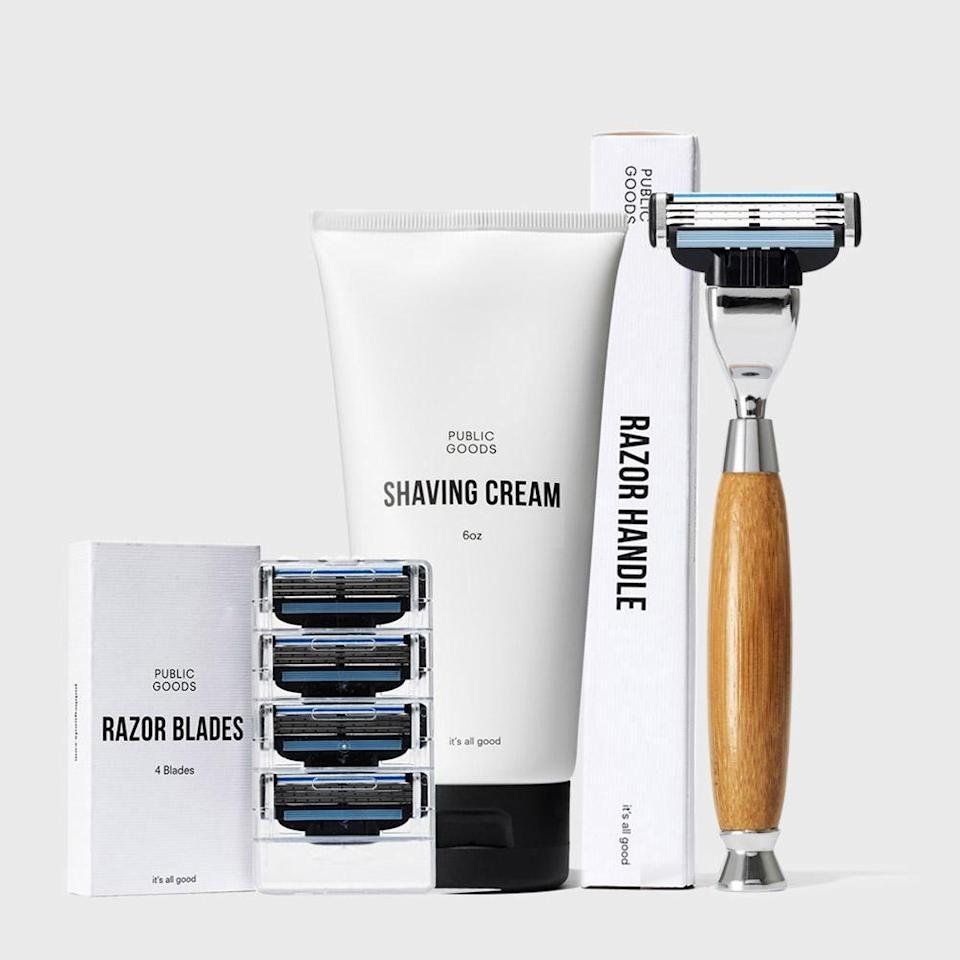 """<p>publicgoods.com</p><p><a href=""""https://go.redirectingat.com?id=74968X1596630&url=https%3A%2F%2Fwww.publicgoods.com%2Fproducts%2Fshaving-set%3F_pos%3D4%26_sid%3D07597d7d2%26_ss%3Dr&sref=https%3A%2F%2Fwww.menshealth.com%2Fgrooming%2Fg36290394%2Fbest-shave-clubs%2F"""" rel=""""nofollow noopener"""" target=""""_blank"""" data-ylk=""""slk:BUY IT HERE"""" class=""""link rapid-noclick-resp"""">BUY IT HERE</a></p><p>Public Goods, formerly known as Morgans, is essentially a one-stop-shop for almost anything you need, not just for your shaving routine. The company prizes sustainability and creates their products with eco-friendly packaging and ethically-sourced ingredients, so you can feel good about using them. Start with the two-week free trial to try out any of their products (we recommend the shaving kit), and then for a $59 annual membership, you get access to a plethora of well-priced grooming goods. Case in point, the bamboo razor handle is $11 and blade refills will run you only $1. And to really make the most of your membership, don't sleep on their other offerings—everything from paper towels to pantry items to dog food.</p>"""