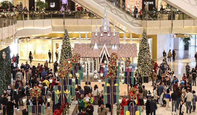 Christmas decorations at Shanghai International Finance Centre. Photo: SCMP Handout