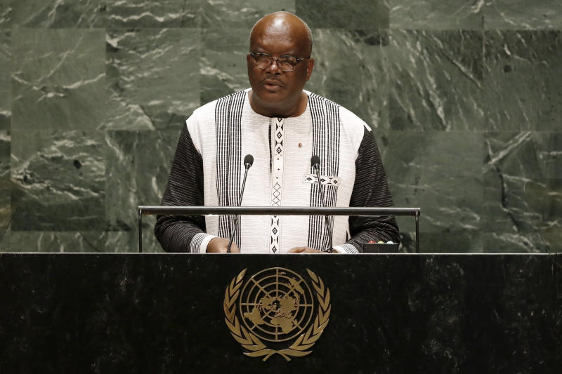 Burkina Faso's President Roch Marc Christian Kabore addresses the 74th session of the United Nations General Assembly, Tuesday, Sept. 24, 2019. (AP Photo/Richard Drew)