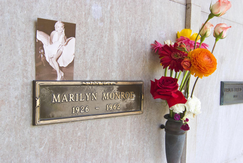 Marylin Monroe's crypt at the Westwood Memorial Park Cemetery. The crypt directly to the left of Marilyn Monroe was purchased by Hugh Hefner in 1992 for $75,000. (Douglas Keister via Getty Images)