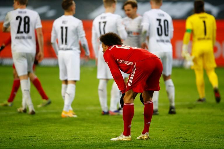 Bayern Munich midfielder Leroy Sane shows his frustration after defeat at Moechengladbach