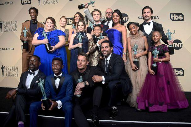 PHOTO: The cast of 'This Is Us' win for outstanding performance by an ensemble in a drama series during the 24th annual Screen Actors' Guild awards at the Shrine Auditorium, Jan. 21, 2018, in Los Angeles. (Frazer Harrison/Getty Images)