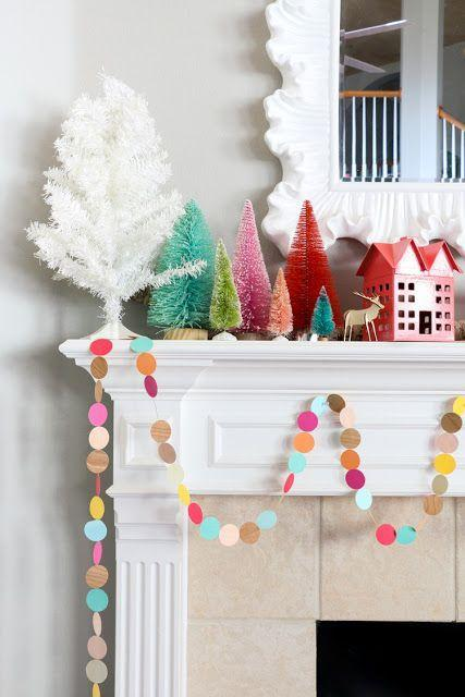 "<p>Experiment with colors that go way beyond the traditional green and red. Just keep it simple if you go this bold—opt for a fun veneer wood garland and a handful of accent pieces, like bottle brush trees or a small Christmas village. This works well if you have a TV above your mantel becuase it has a lower profile.</p><p><em>Get the tutorial at <a href=""https://akailochiclife.com/2016/12/diy-it-colorful-wood-veneer-garland.html"" rel=""nofollow noopener"" target=""_blank"" data-ylk=""slk:A Kailo Chic Life"" class=""link rapid-noclick-resp"">A Kailo Chic Life</a>.</em></p><p><a class=""link rapid-noclick-resp"" href=""https://www.amazon.com/Etmact-Multicolor-Ornaments-Displaying-Decoration/dp/B07R39PDZT/?tag=syn-yahoo-20&ascsubtag=%5Bartid%7C10072.g.34484299%5Bsrc%7Cyahoo-us"" rel=""nofollow noopener"" target=""_blank"" data-ylk=""slk:SHOP BOTTLE BRUSH TREES"">SHOP BOTTLE BRUSH TREES</a></p>"