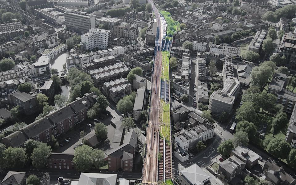 An aerial look at the proposed Camden Highline