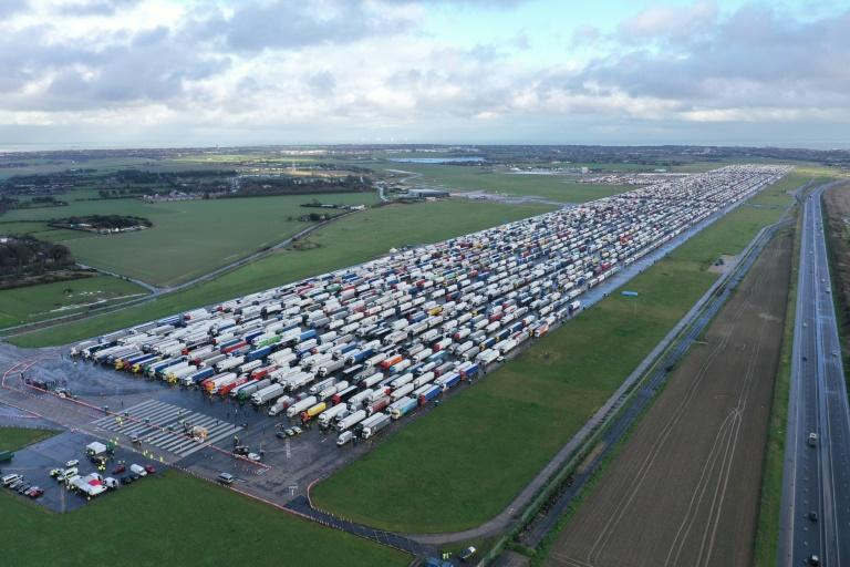 Thousands of trucks have been packed into Manston Airport near Ramsgate while drivers await testing