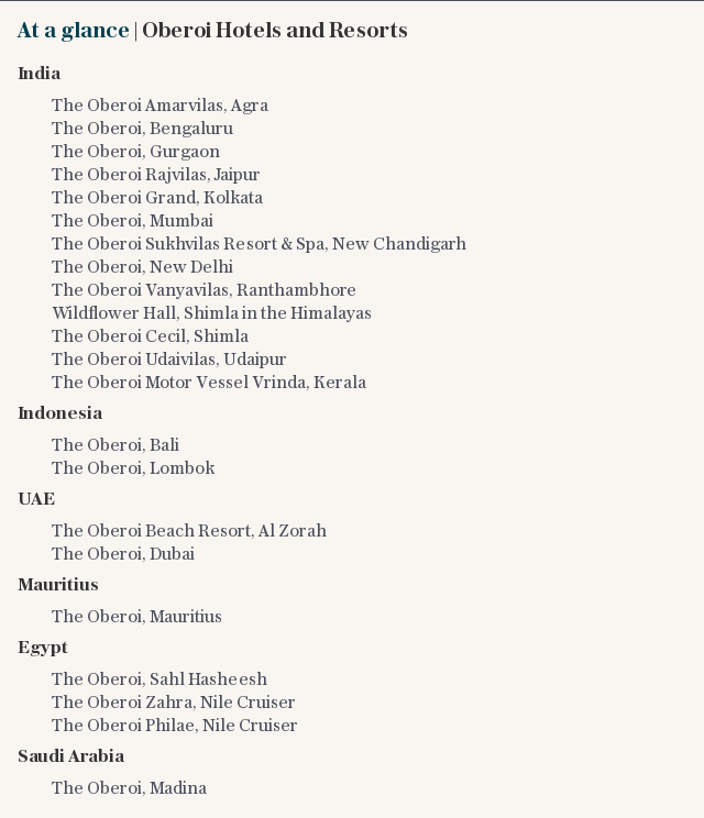 At a glance   Oberoi Hotels and Resorts