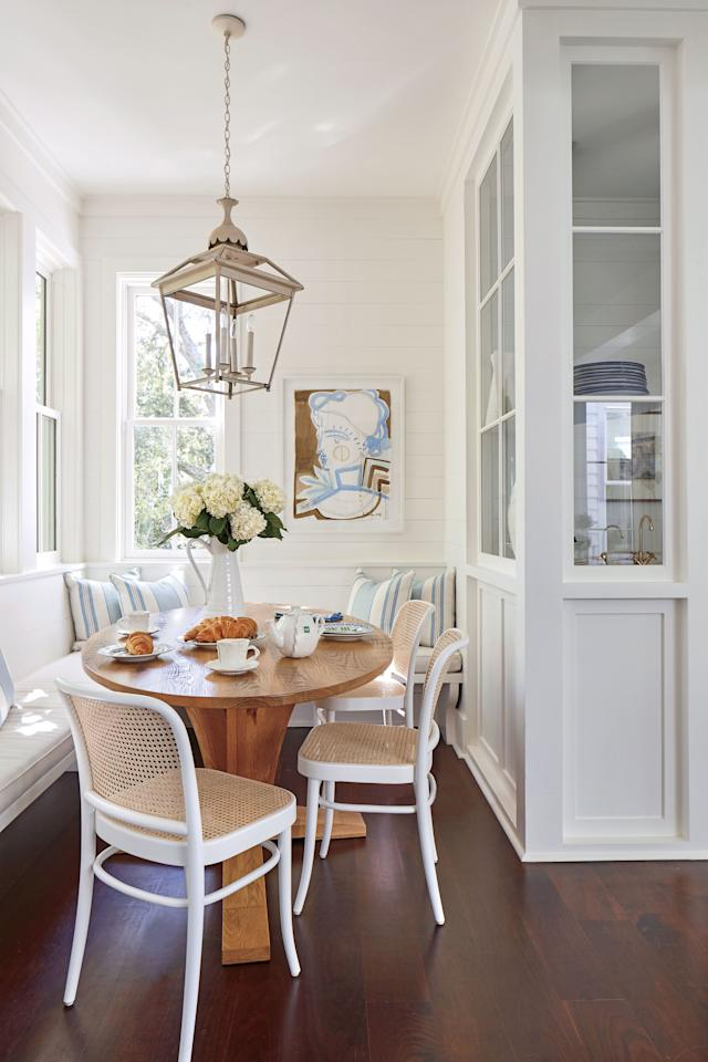<p>Nooks in kitchens are often heavily used and we can see why! Nooks are great for natural sunlight, but when the sun goes down, an overhanging light can easily take the lead.</p>