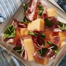 """<p>Sweet cantaloupe and salty salami make a delightful pairing in this kebab recipe. </p><p><em><u><strong><a href=""""https://www.womansday.com/food-recipes/food-drinks/a27495459/salami-wrapped-melon-with-basil-recipe/"""" rel=""""nofollow noopener"""" target=""""_blank"""" data-ylk=""""slk:Get the recipe for Salami-Wrapped Melon with Basil"""" class=""""link rapid-noclick-resp"""">Get the recipe for Salami-Wrapped Melon with Basil</a>.</strong></u></em></p>"""