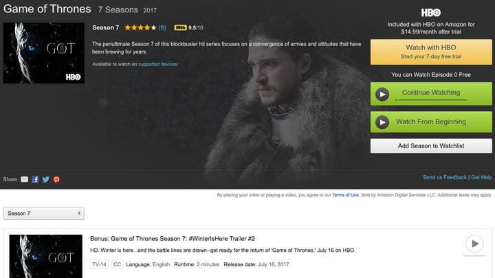 how to watch game of thrones online amazon video