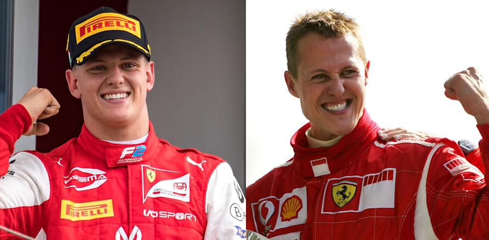 This combination of pictures created on December 2, 2020, shows German Ferrari driver Michael Schumacher (R) celebrating on the podium of the Monza racetrack after the Italian Formula One Grand prix, in Monza, on September 10, 2006, and his son Prema Racing's German driver Mick Schumacher (L) celebrating after winning the Formula Two championship race of the Hungarian Grand Prix at the Hungaroring circuit in Mogyorod near Budapest, on August 4, 2019. - Mick Schumacher, the son of seven-time world champion Michael Schumacher, will drive in Formula One for the first time with Haas next season, the team announced on December 2, 2020, leaving their new recruit