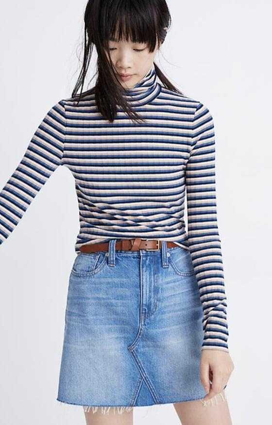 <p><span>Madewell Ribbed Turtleneck Top in Stripe </span> ($20)</p>