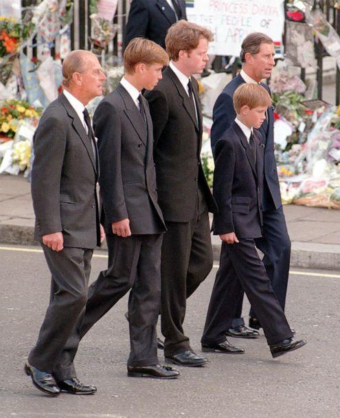 PHOTO: The Duke of Edinburgh, Prince William, Earl Spencer, Prince Harry and the Prince of Wales follow the coffin of Diana, Princess of Wales, to Westminster Abbey for her funeral service on Sept. 6, 1997, in London. (Adam Butler/PA Images via Getty Images, FILE)