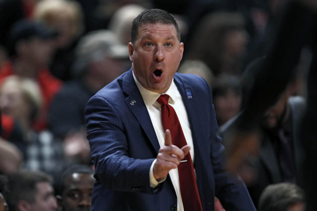 Texas Tech coach Chris Beard yells out to his players during the first half of an NCAA college basketball game against Kentucky, Saturday, Jan. 25, 2020, in Lubbock, Texas. (AP Photo/Brad Tollefson)