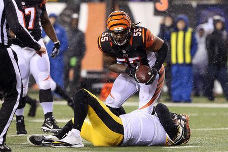 FILE PHOTO: Jan 9, 2016; Cincinnati, OH, USA; Cincinnati Bengals outside linebacker Vontaze Burfict (55) reacts after sacking Pittsburgh Steelers quarterback Ben Roethlisberger (7) during the third quarter in the AFC Wild Card playoff football game at Paul Brown Stadium. Mandatory Credit: Aaron Doster-USA TODAY Sports / Reuters Picture Supplied by Action Images/File Photo