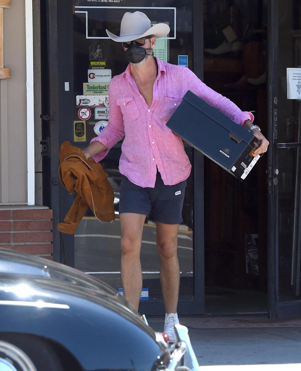 <p>Chris Pine pops into a Western-themed clothing store in Los Angeles on Monday to pick up some new finds. </p>
