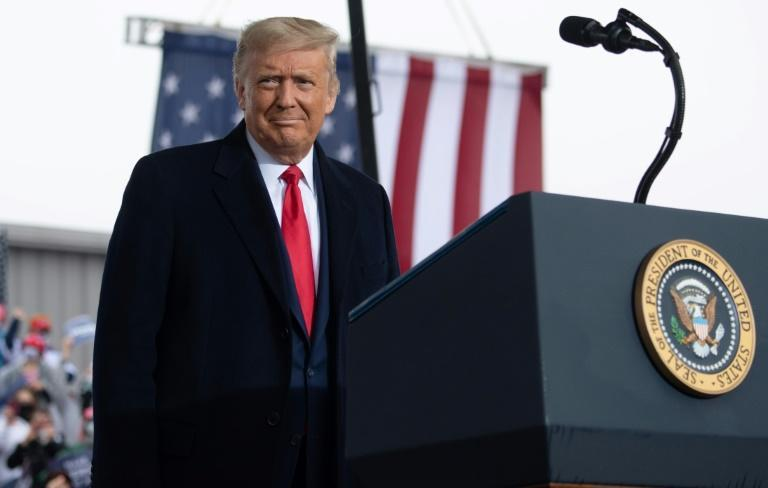 US President Donald Trump holds a campaign rally at HoverTech International in Allentown, Pennsylvania, October 26, 2020