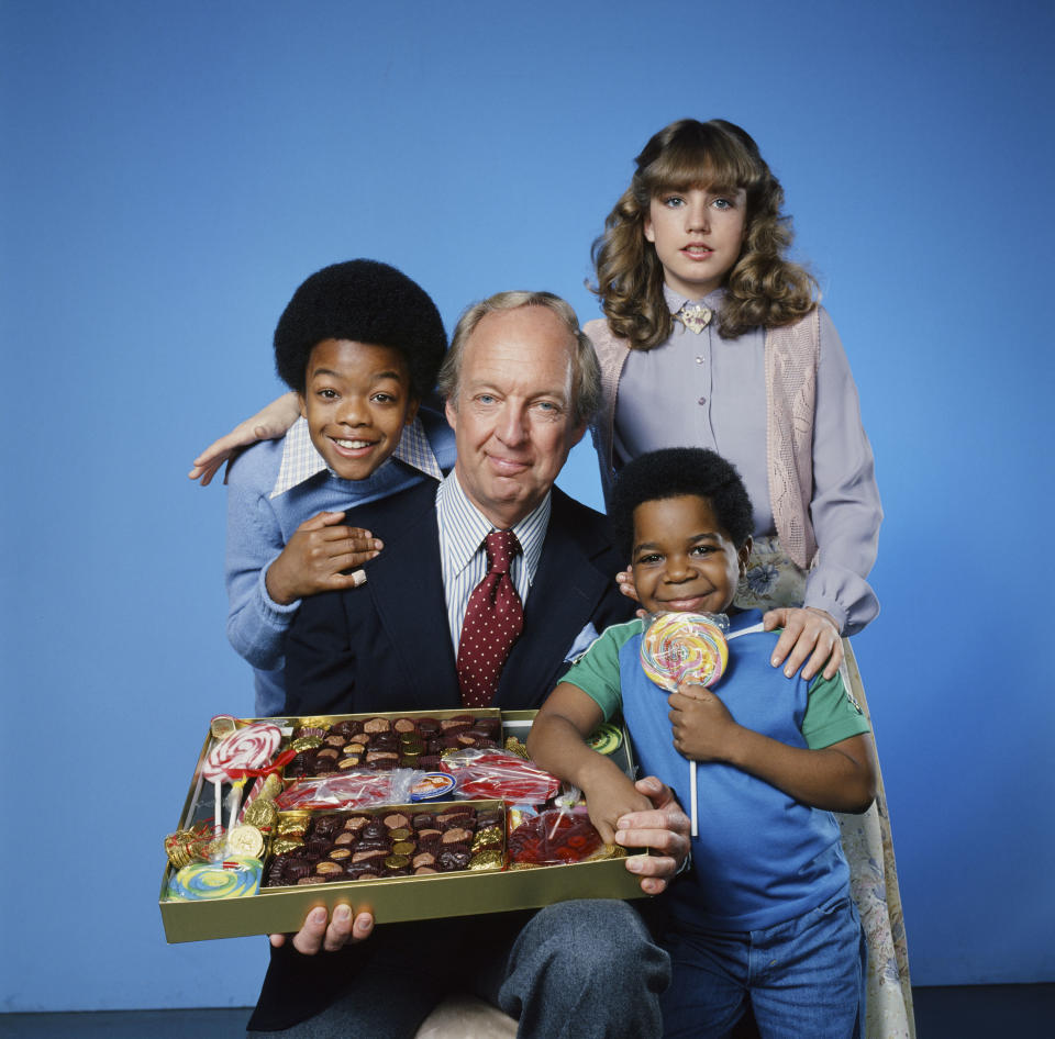 DIFF'RENT STROKES -- Season 2 -- Pictured: (l-r) Todd Bridges as Willis Jackson, Conrad Bain as Philip Drummond, Dana Plato as Kimberly Drummond, Gary Coleman as Arnold Jackson  (Photo by Herb Ball/NBCU Photo Bank/NBCUniversal via Getty Images via Getty Images)