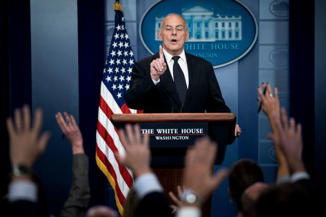 White House Chief of Staff John Kelly speaks about President Trump's calls to fallen service members next of kin during a briefing at the White House October 19, 2017 in Washington. (Photo: Smialowski/AFP/Getty Images)
