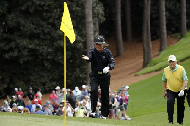 Golf greats Gary Player (L) and Jack Nicklaus walk up to the first green during the par 3 contest held on the final day of practice for the 2018 Masters golf tournament at Augusta National Golf Club in Augusta, Georgia, U.S. April 4, 2018. REUTERS/Mike Segar