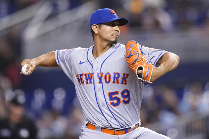 New York Mets starting pitcher Carlos Carrasco throws during the first inning of a baseball game against the Miami Marlins, Wednesday, Aug. 4, 2021, in Miami. (AP Photo/Lynne Sladky)