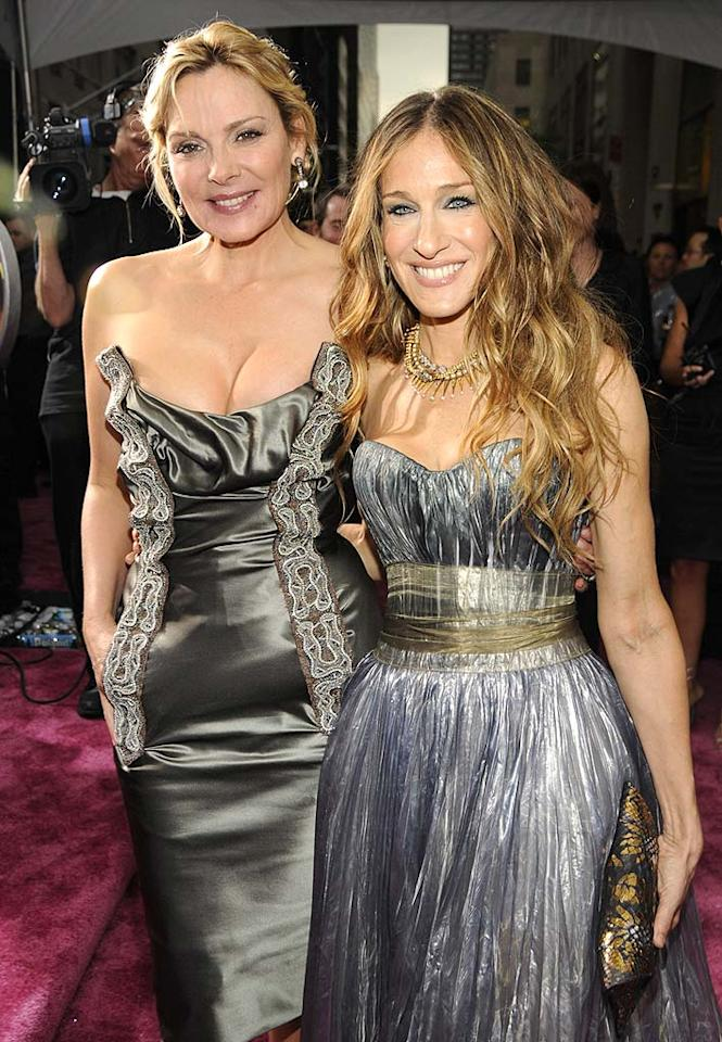"Kim Cattrall and Sarah Jessica Parker attended the premiere of ""Sex and the City: The Movie"" at Radio City Music Hall in Manhattan. Kim opted for a revealing Vivienne Westwood cocktail dress, while SJP went with a silver Nina Ricci bustier gown. Kevin Mazur/<a href=""http://www.wireimage.com"" target=""new"">WireImage.com</a> - May 27, 2008"