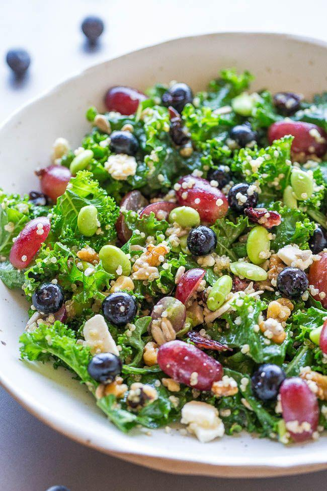 """<p>This salad consists of 12 superfoods including kale, blueberries, edamame, and much more to ensure a healthy end to your day.</p><p><strong>Get the recipe at <a href=""""https://www.averiecooks.com/twelve-superfoods-salad/"""" rel=""""nofollow noopener"""" target=""""_blank"""" data-ylk=""""slk:Averie Cooks"""" class=""""link rapid-noclick-resp"""">Averie Cooks</a>.</strong></p><p><a class=""""link rapid-noclick-resp"""" href=""""https://www.amazon.com/Stainless-Colorful-Silicone-Aammaxs-yyi-Polished/dp/B07D3NRLML/?tag=syn-yahoo-20&ascsubtag=%5Bartid%7C10050.g.32934702%5Bsrc%7Cyahoo-us"""" rel=""""nofollow noopener"""" target=""""_blank"""" data-ylk=""""slk:SHOP MIXING BOWLS""""><strong>SHOP MIXING BOWLS</strong></a></p>"""