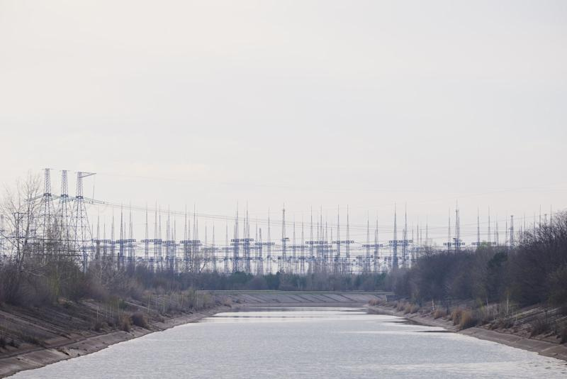 A view on front of the electrical pylon's field of the Chernobyl nuclear power plant in the Exclusion Zone, Ukraine. (Photo: Vitaliy Holovin/Corbis via Getty images)