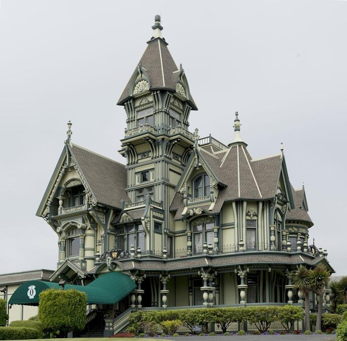 <p>Architects Samuel and Joseph Newsom were commissioned by lumber baron William Carson to build a unique mansion that mixes key styles of Victorian architecture including Italianate, Queen Anne, and Eastlake. </p><p>The 19th-century building is made of materials from around the world, including white mahogany from Central America, redwood from northern California, and onyx from East India, Mexico, and the Philippines. In 1950, the Carson family sold the mansion to the private Ingomar Club, which uses the eye-catching home for private events. </p>