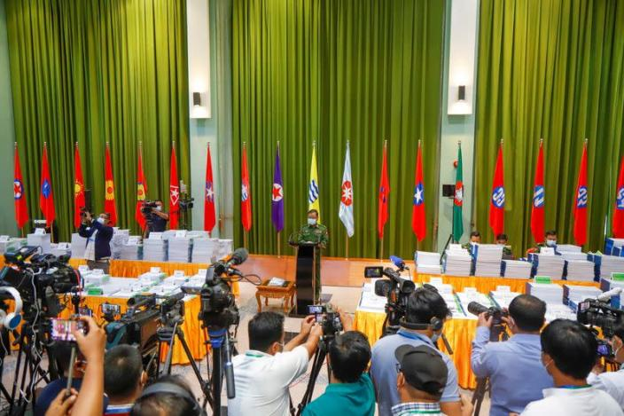 News conference ahead of new parliament term and formation of new government in Naypyitaw