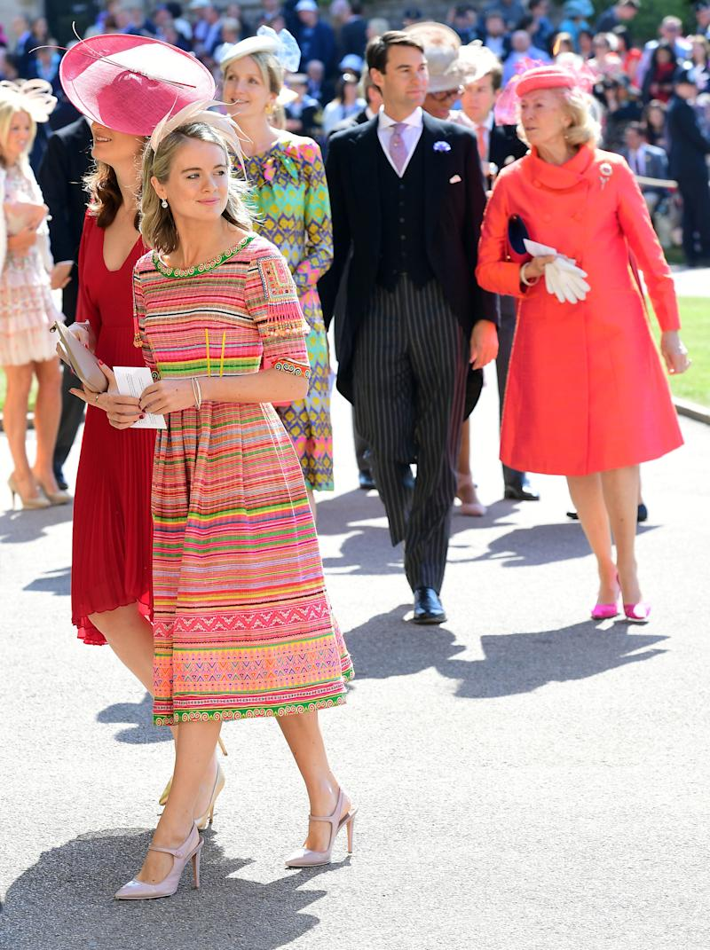 Cressida Bonas, in foreground, arrives at St. George's Chapel. (POOL New / Reuters)