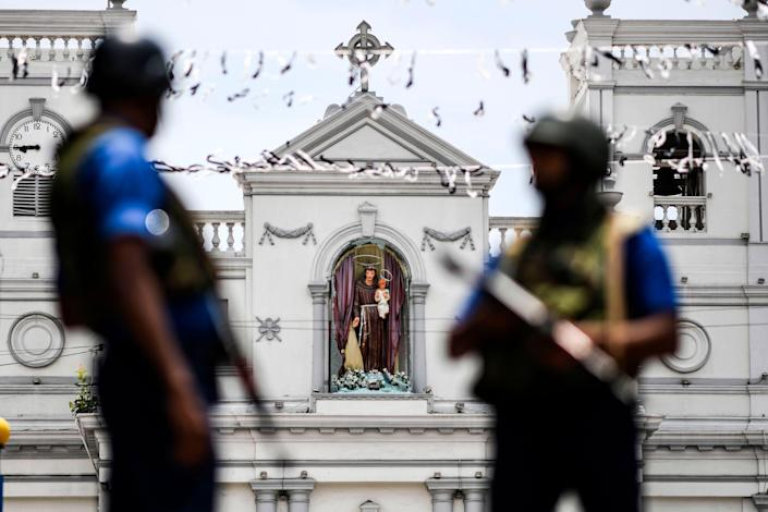 Soldiers stand guard outside St. Anthony's Shrine in Colombo on April 25, 2019, following a series of bomb blasts targeting churches and luxury hotels on the Easter Sunday in Sri Lanka.