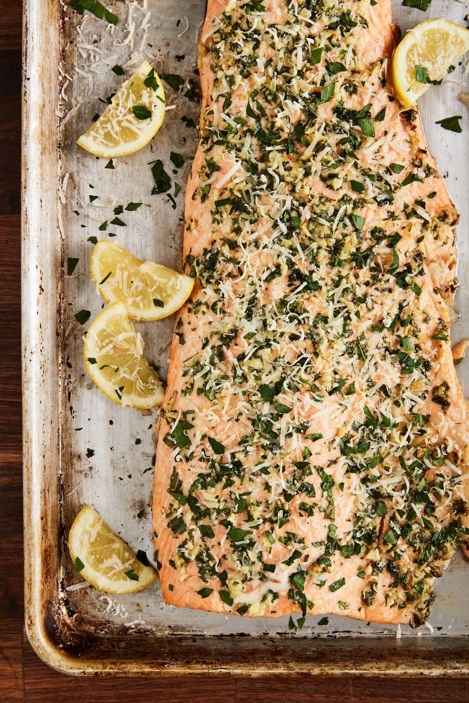 "<p>Herb and Parmesan crusted salmon. What's not to love?</p><p>Get the recipe from <a href=""https://www.delish.com/cooking/recipe-ideas/recipes/a50778/garlic-parmesan-salmon-recipe/"" rel=""nofollow noopener"" target=""_blank"" data-ylk=""slk:Delish"" class=""link rapid-noclick-resp"">Delish</a>. </p>"