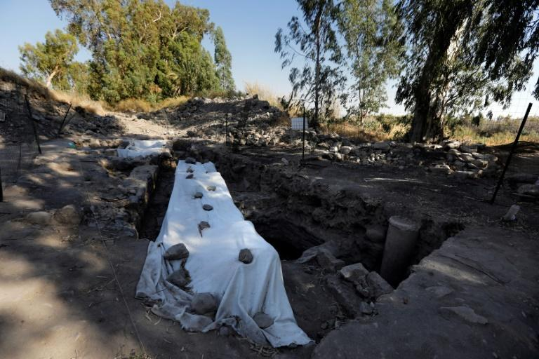 An archeological excavation site believed to be the location of a biblical village that was home to Saint Peter near the Sea of Galilee in northern Israel