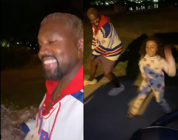 Kanye West grins and dance with North West in video shot by Kim Kardashian shared to Twitter