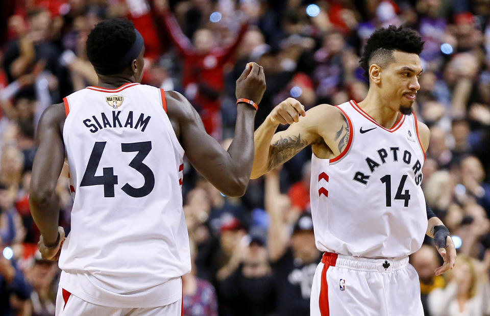 May 30, 2019; Toronto, Ontario, CAN; Toronto Raptors guard Danny Green (14) reacts with forward Pascal Siakam (43) during the fourth quarter against the Golden State Warriors in game one of the 2019 NBA Finals at Scotiabank Arena. Mandatory Credit: John E. Sokolowski-USA TODAY Sports