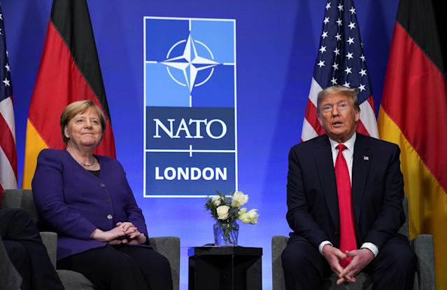 US President Donald Trump and Germany's Chancellor Angela Merkel hold a bilateral meeting at the sidelines of the NATO summit in Watford, Britain, December 4, 2019. Photo: Reuters/Kevin Lamarque