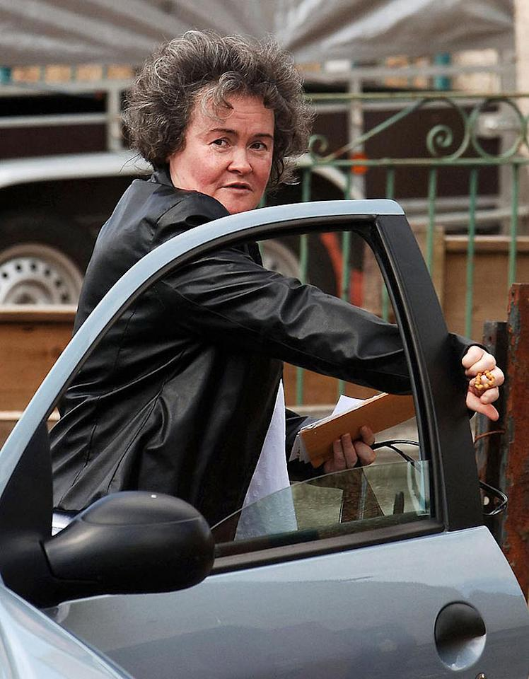 """Britain's Got Talent"" singer Susan Boyle showed off her sleeker eyebrows Wednesday (she dyed her hair on Thursday). Although the 47-year-old told The London Times last Saturday ""I'm happy the way I am,"" her appearance and wardrobe were notably different by week's end. <a href=""http://www.pacificcoastnews.com/"" target=""new"">PacificCoastNews.com</a> - April 22, 2009"