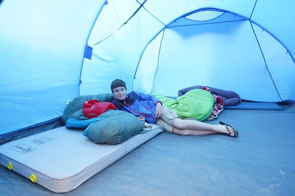 Max Woosey camped out in all sorts of bad weather during his 12-month adventure (Woosey family/PA).