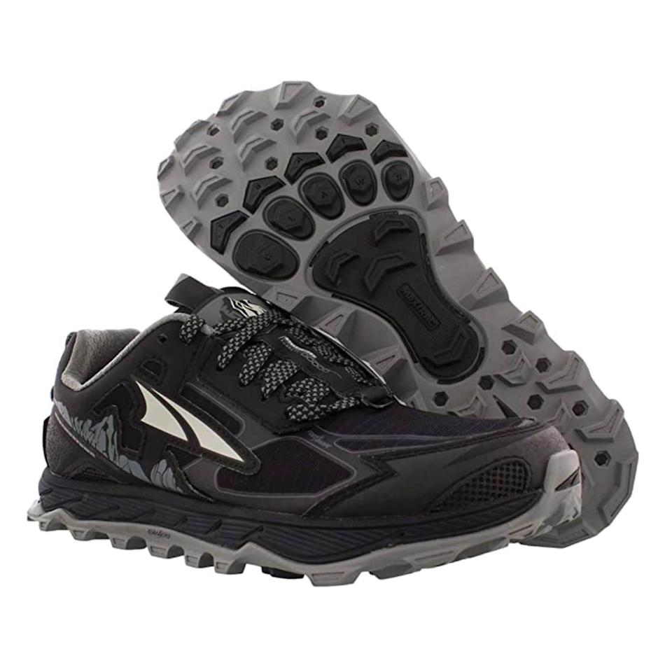 """<p><strong>Altra</strong></p><p>amazon.com</p><p><strong>$119.95</strong></p><p><a href=""""https://www.amazon.com/dp/B07TM41XJB?tag=syn-yahoo-20&ascsubtag=%5Bartid%7C2142.g.36448024%5Bsrc%7Cyahoo-us"""" rel=""""nofollow noopener"""" target=""""_blank"""" data-ylk=""""slk:Shop Now"""" class=""""link rapid-noclick-resp"""">Shop Now</a></p><p>If you find running in the great outdoors more your speed, you'll want to pick up a pair of Altras. Features like StoneGuard, which protects against rocks, and MaxTracout soles, which have a multidirectional lug pattern that provides superb traction, make running off the beaten path a whole lotta fun. </p>"""