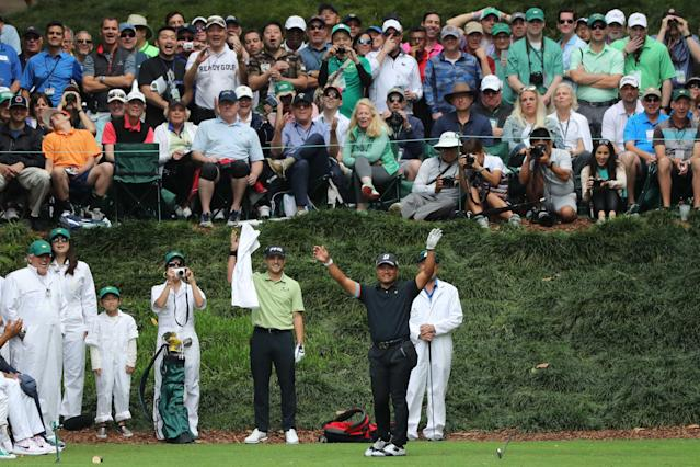 Yusaku Miyazato of Japan reacts to almost making a hole in one on the 9th during the par 3 contest held on the final day of practice for the 2018 Masters golf tournament at Augusta National Golf Club in Augusta, Georgia, U.S. April 4, 2018. REUTERS/Lucy Nicholson