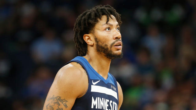 "<a class=""link rapid-noclick-resp"" href=""/nba/teams/min"" data-ylk=""slk:Minnesota Timberwolves"">Minnesota Timberwolves</a>' Derrick Rose plays against the <a class=""link rapid-noclick-resp"" href=""/nba/teams/hou"" data-ylk=""slk:Houston Rockets"">Houston Rockets</a> during the second half of Game 4 in an NBA basketball first-round playoff series Monday, April 23, 2018, in Minneapolis. (AP)"