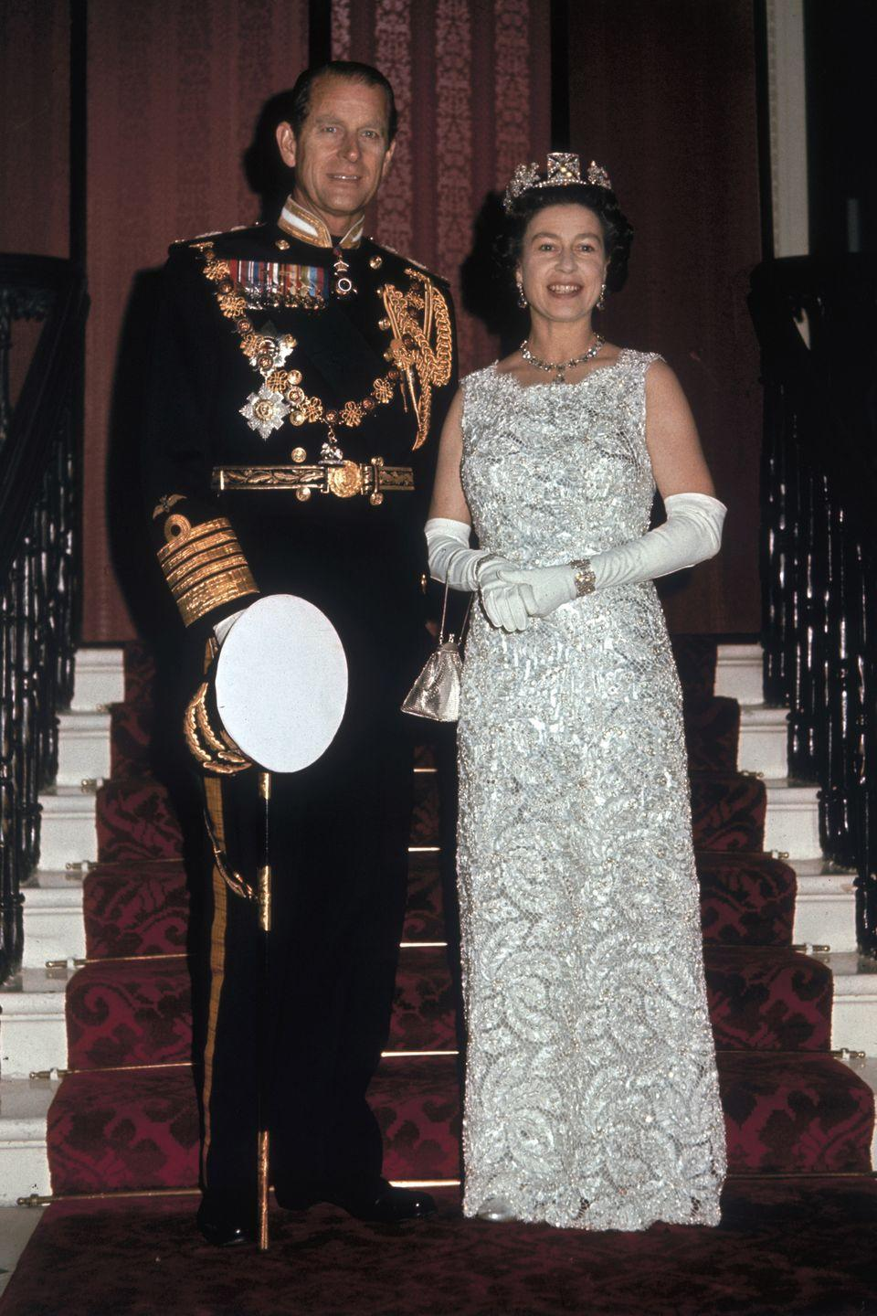 <p>Queen Elizabeth and Prince Philip Duke on the occasion of their 25th silver wedding anniversary celebrations held at Buckingham Palace.</p>