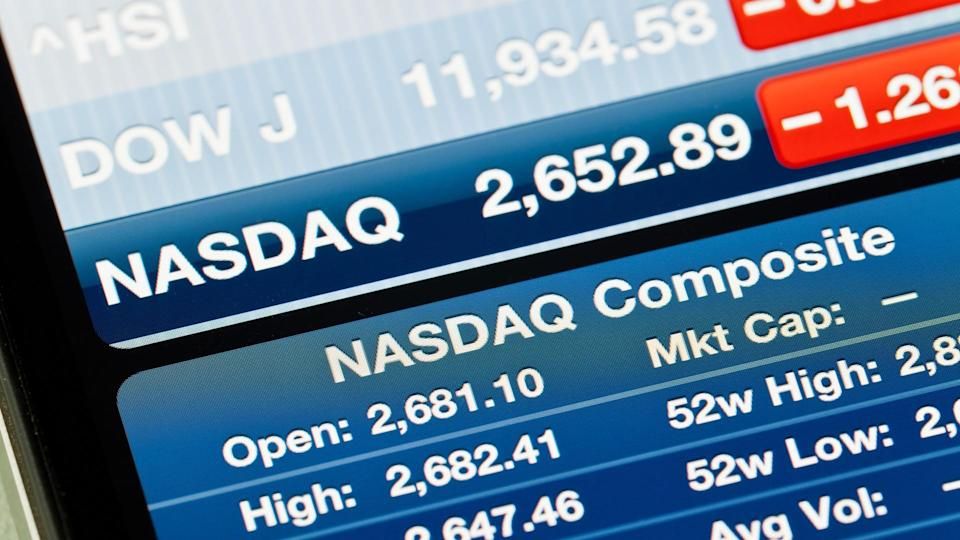 close up of dow jones on a screen