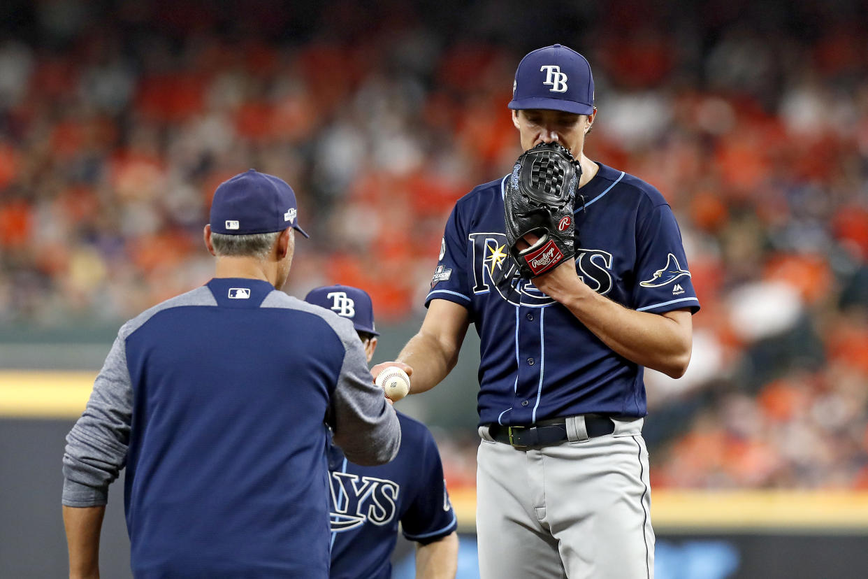 Was Rays Game 5 starter Tyler Glasnow tipping his pitches against the Astros? (Photo by Tim Warner/Getty Images)