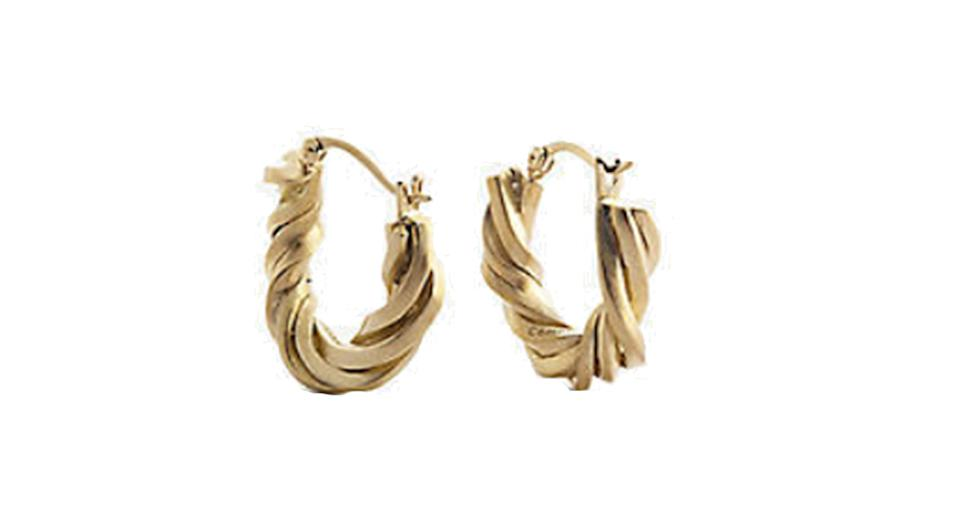 Twisted 14ct yellow-gold plated sterling silver earrings
