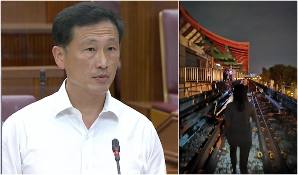 (From left to right): Transport Minister Ong Ye Kung delivers his ministerial statement on 6 October, 2020, in Parliament. Commuters made to walk on train tracks on 14 October, 2020, as a power fault disrupts train services on three major lines. (PHOTOS: Parliament screengrab, Grace Guo)